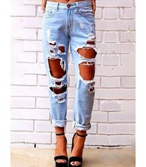 blue pocket random ripped jeans
