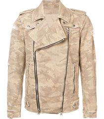 balmain destroyed camouflage print biker jacket - brown