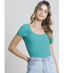 blusa feminina canelada manga bufante decote reto verde