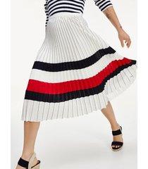 tommy hilfiger women's icon pleated chiffon skirt ivory - 0