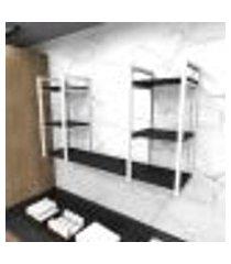 prateleira industrial lavanderia aço cor branco 120x30x68cm cxlxa cor mdf preto modelo ind31plav