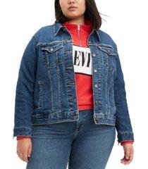 levi's trendy plus size ex-boyfriend trucker jean jacket