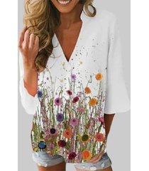 camicetta casual da donna con maniche a 3/4 con scollo a v con stampa floreale