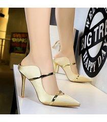 mujer taco zapatos sandalias de tacon fashion-cool-dorado