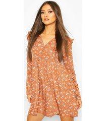 floral smock dress, rust