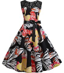 butterfly lace panel belted retro a line dress