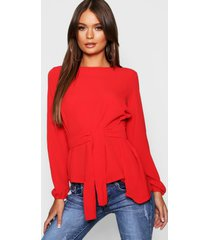 asymmetric hem belted woven top, red