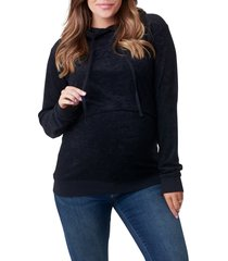 women's nom maternity jojo maternity/nursing hoodie, size x-small - black