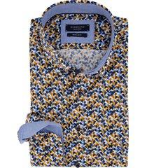 overhemd giordano regular fit geel blauw motief
