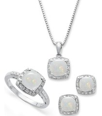 sterling silver jewelry set, opal (4-3/4 ct. t.w.) and diamond accent necklace, earrings and ring set