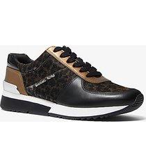 mk sneaker allie in pelle e mesh con stampa leopardo e glitter - nero/bronzo (nero) - michael kors