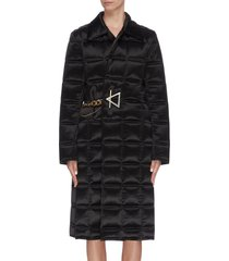 shawl collar chain buckle wrap quilted padded coat