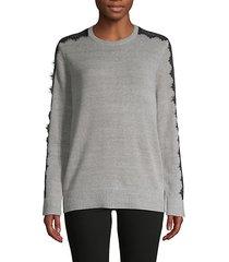 lace-trim cotton-blend sweater