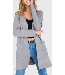 cardigan io liso gris  - calce regular