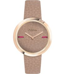 furla women's my piper brown dial calfskin leather watch