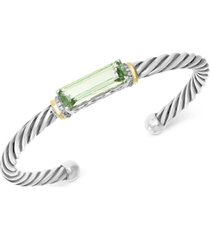 effy green quartz (6-1/3 ct. t.w.) & diamond (1/8 ct. t.w.) bangle bracelet in sterling silver and 18k gold over sterling silver