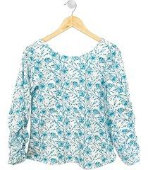 blusa flores manga larga mujer