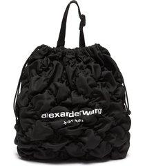 'rebound' logo print diamond quilt ruched nylon backpack