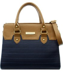 bolsa maria verônica recortes e matelassê couro cor azul com marrom 5132