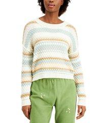 freshman juniors' bubble-knit striped sweater
