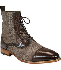 handmade men brown leather boots, tweed fabric boot for men, formal dress boots