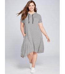 lane bryant women's livi striped hoodie dress 18/20 medium heather grey