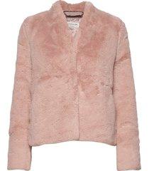 coat ls outerwear faux fur roze rosemunde