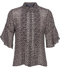 aura ditsy dobbie pintuck shrt blouses short-sleeved svart french connection