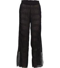 pleated georgette wijde broek zwart ganni
