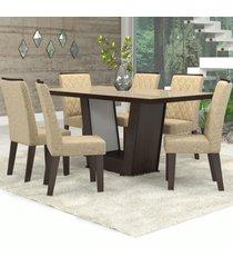mesa de jantar 6 lugares condessa nogueira/gold/bronze - viero móveis