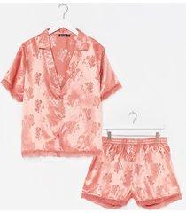 womens lights out plus jacquard shirt and short pajama set - rose