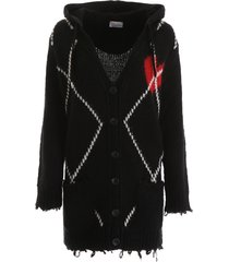 red valentino heart intarsia cardigan