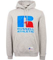 russell athletic eagle logo pullover hoodie - steel marl pc86032-324