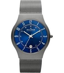 skagen men's grenen gray stainless steel mesh bracelet watch 37mm