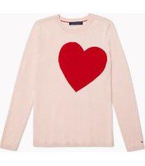 tommy hilfiger women's essential heart intarsia sweater ballerina pink / scarlet - xs