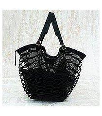 leather shoulder bag, 'black sambura' (18 inch) (brazil)