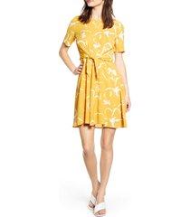 women's vero moda ilona tie front short sleeve dress, size x-small - yellow