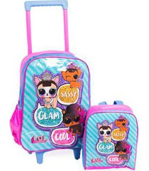 kit mochila de rodinha infantil + lancheira original lol feminina