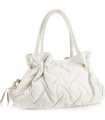 fontanelli designer handbags, pleated nappa leather satchel bag