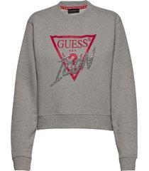 icon fleece sweat-shirt tröja grå guess jeans