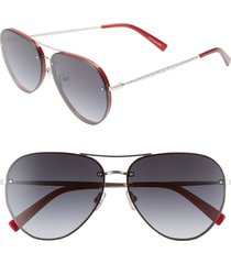 women's rebecca minkoff gloria2 59mm aviator sunglasses - red/ silver