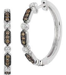 chocolatier® 14k vanilla gold®, vanilla diamond® & chocolate diamond® hoop earrings