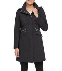 karl lagerfeld paris women's hooded officer coat - black - size xl