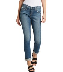 women's silver jeans co. beau distressed cuff girlfriend fit jeans, size 24 x 28 - blue