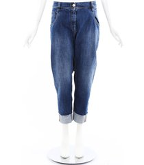 brunello cucinelli monili denim straight leg jeans blue sz: l