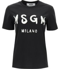 msgm brushed logo print t-shirt
