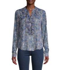 tommy hilfiger women's paisley blouse - blue - size s