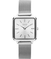 orologio solo tempo con cinturino e cassa in acciaio per donna