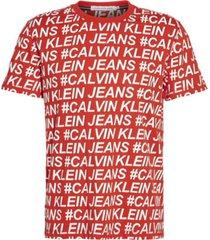 camiseta de algodón orgánico con logo en toda la prenda rojo calvin klein