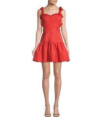 ruffle cotton & linen blend a-line dress